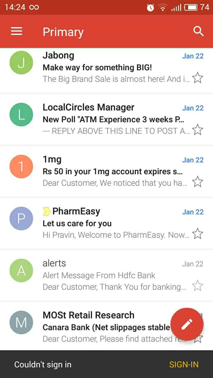 gmail not syncing
